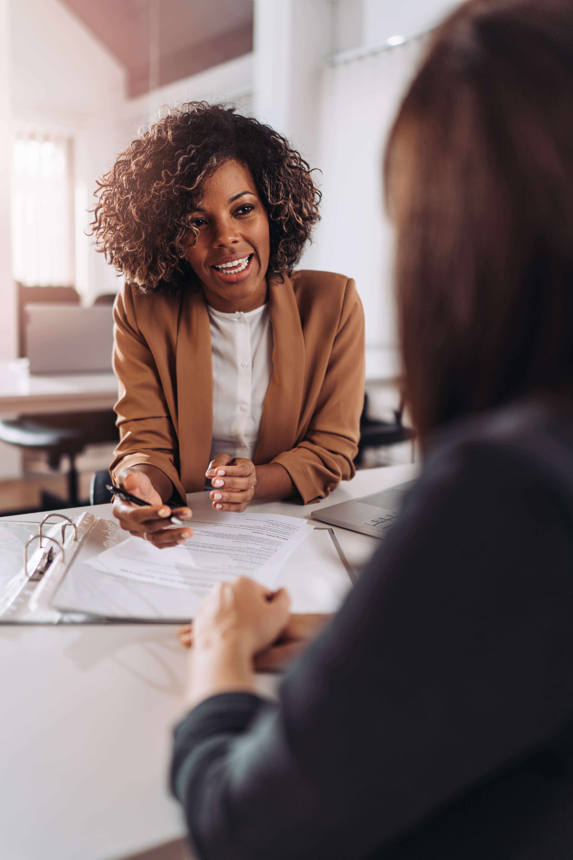Business Meeting Financial Counseling Two Women