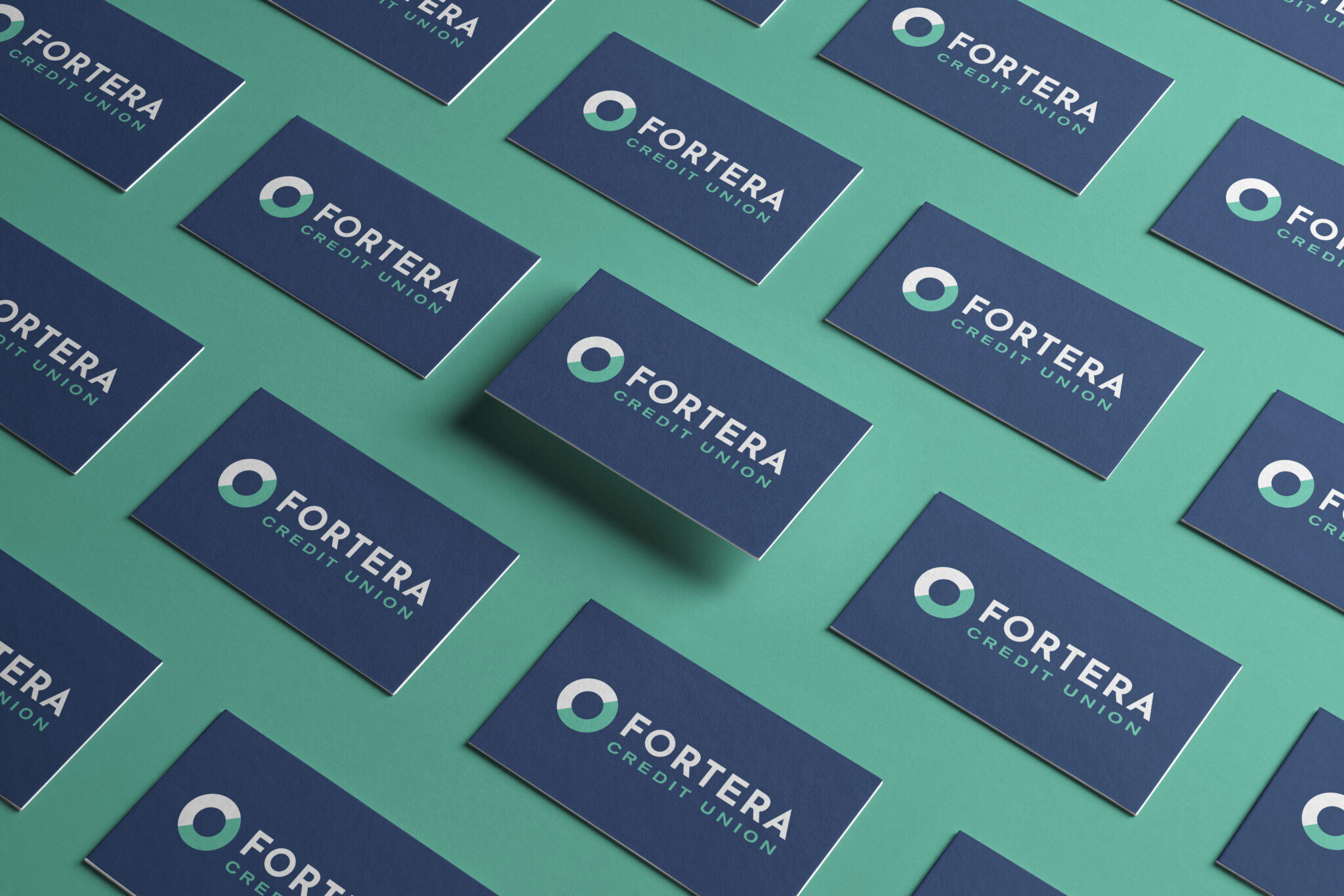 Fortera business cards lined up