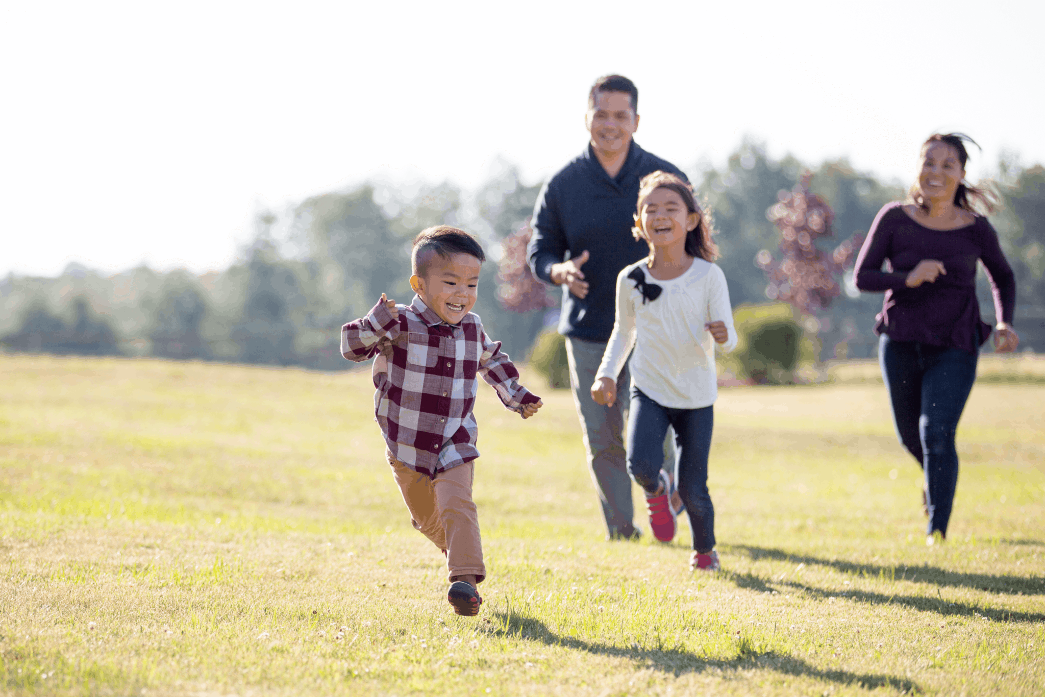 Family playing tag in a meadow