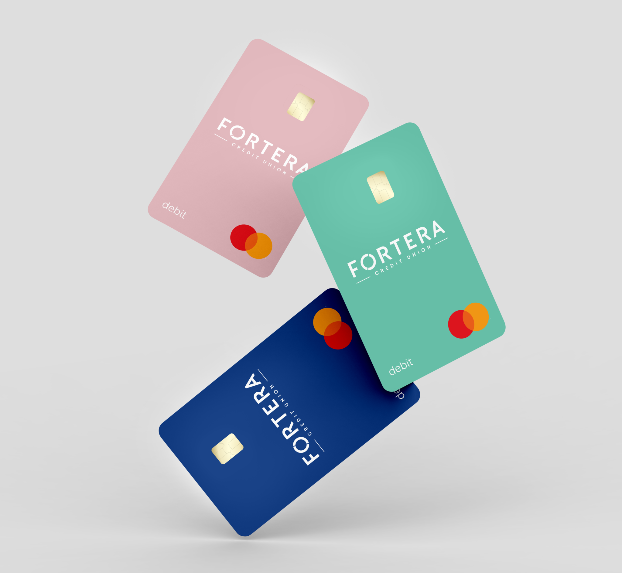 Variety of colorful debit cards floating